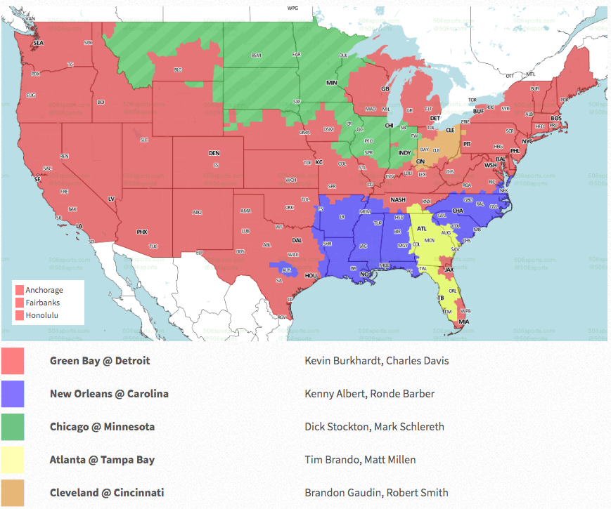 Nfl Week 17 Coverage Map Tv Schedule For Cbs Fox Regional Broadcasts Sporting News