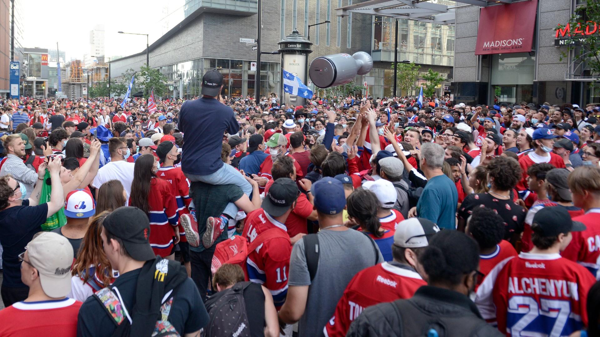 Canadiens fans outside Bell Centre force lockdown inside with violent celebration