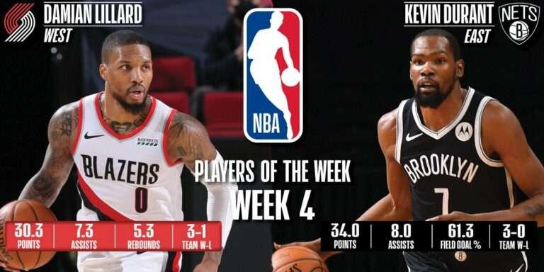 NBA 2020-21 Week4 Players of The Week Lillard Durant