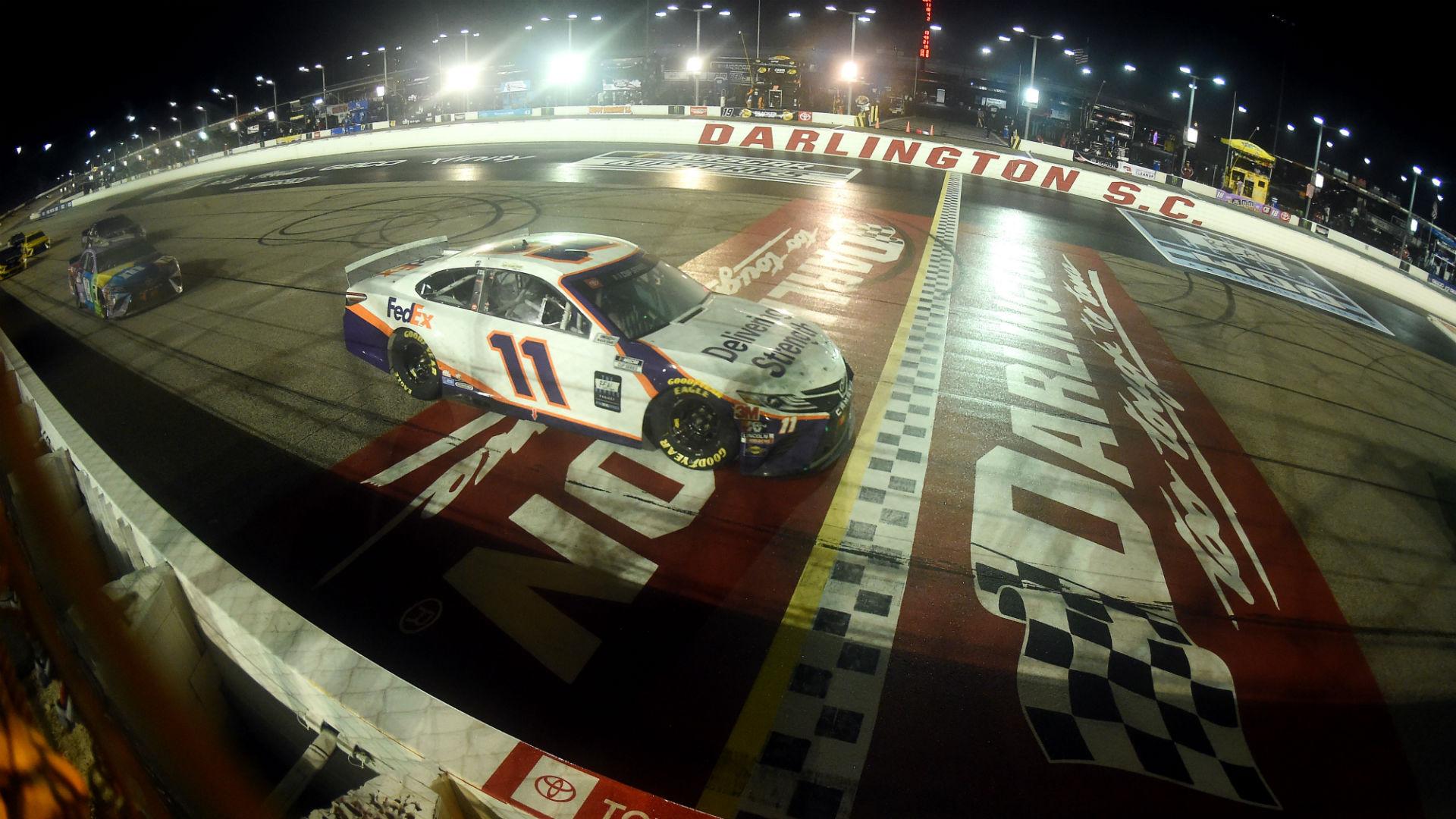 NASCAR at Darlington race results, highlights from Denny Hamlin's rain-shortened victory at the Toyota 500