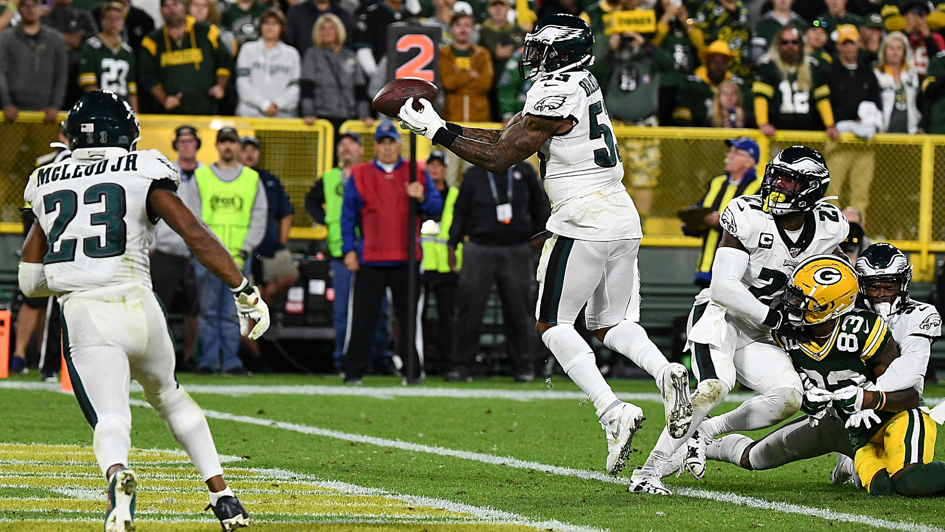 Eagles Vs Packers Final Score Late Int At Goal Line Seals Philly S Thursday Night Win In Green Bay Sporting News