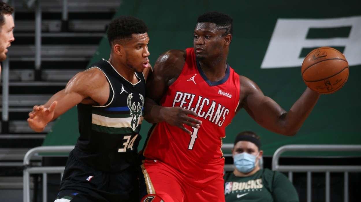 Zion Williamson New Orleans Pelicans Giannis Antetokounmpo   Milwaukee Bucks