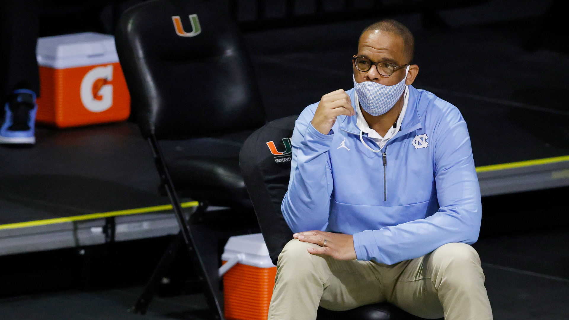 North Carolina coach Hubert Davis has the camera on him now — and no choice but to embrace it