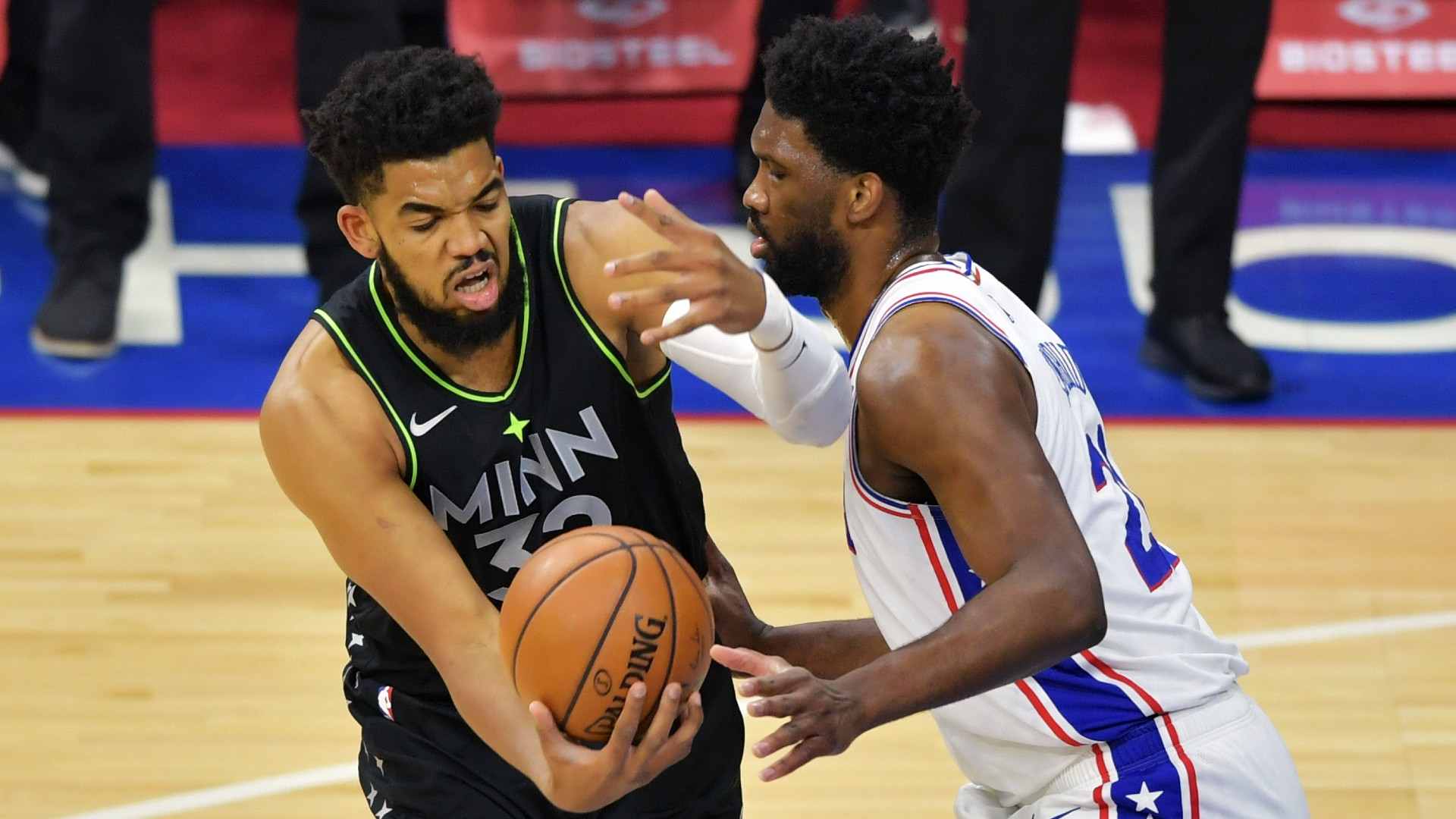 It didn't take long for 76's Joel Embiid and Timberwolves 'Karl-Anthony Towns to spark entertaining praise.