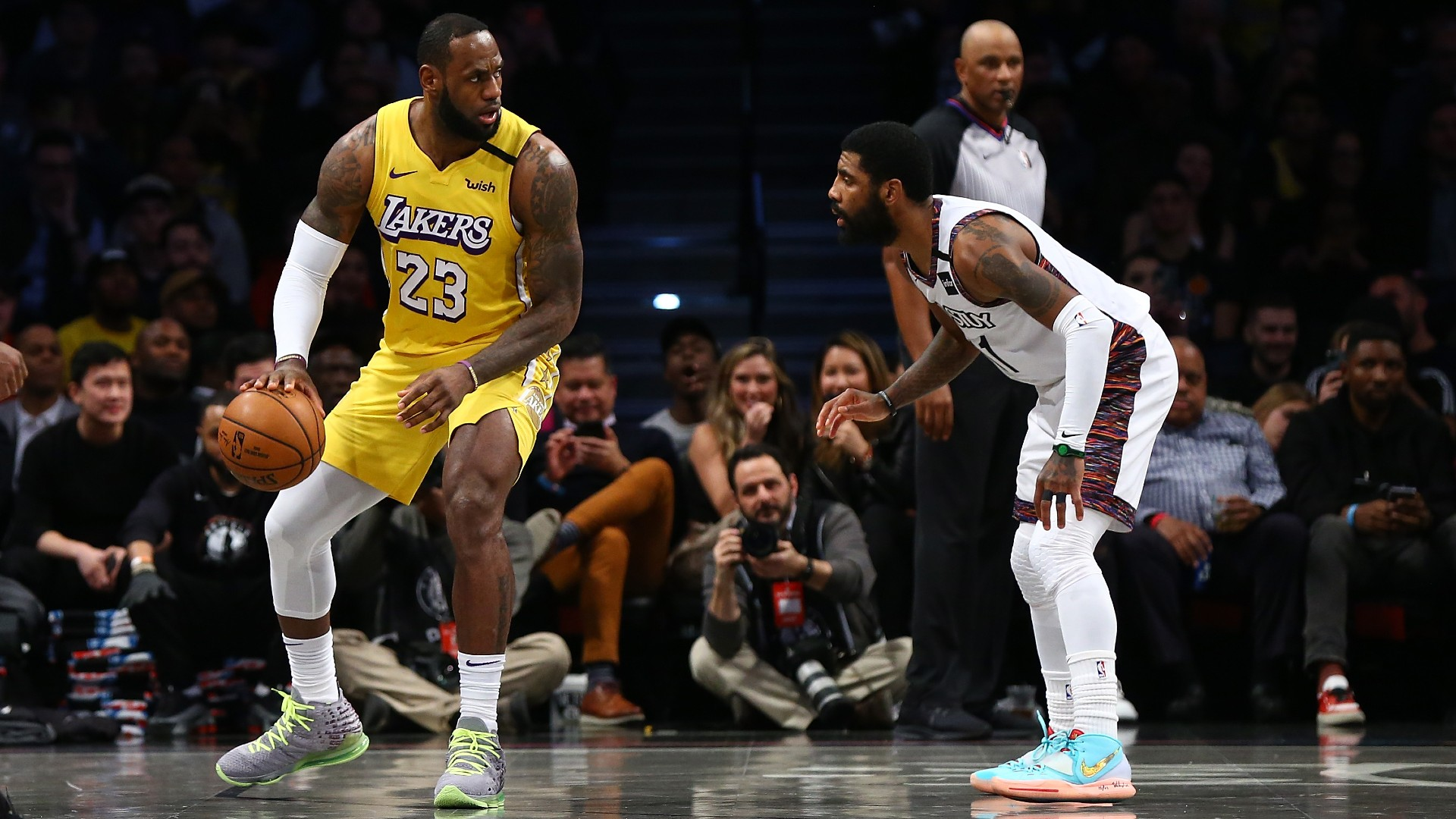 Floor microphones catch Nets' Kyrie Irving trolling Lakers, LeBron James after missed free throw