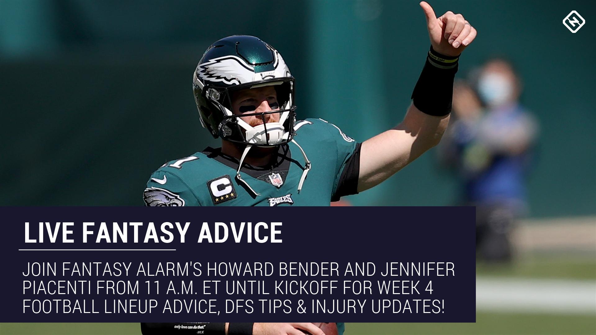 Live Week 4 Fantasy Football Advice: Injury updates, start 'em sit 'em, NFL DFS tips, more