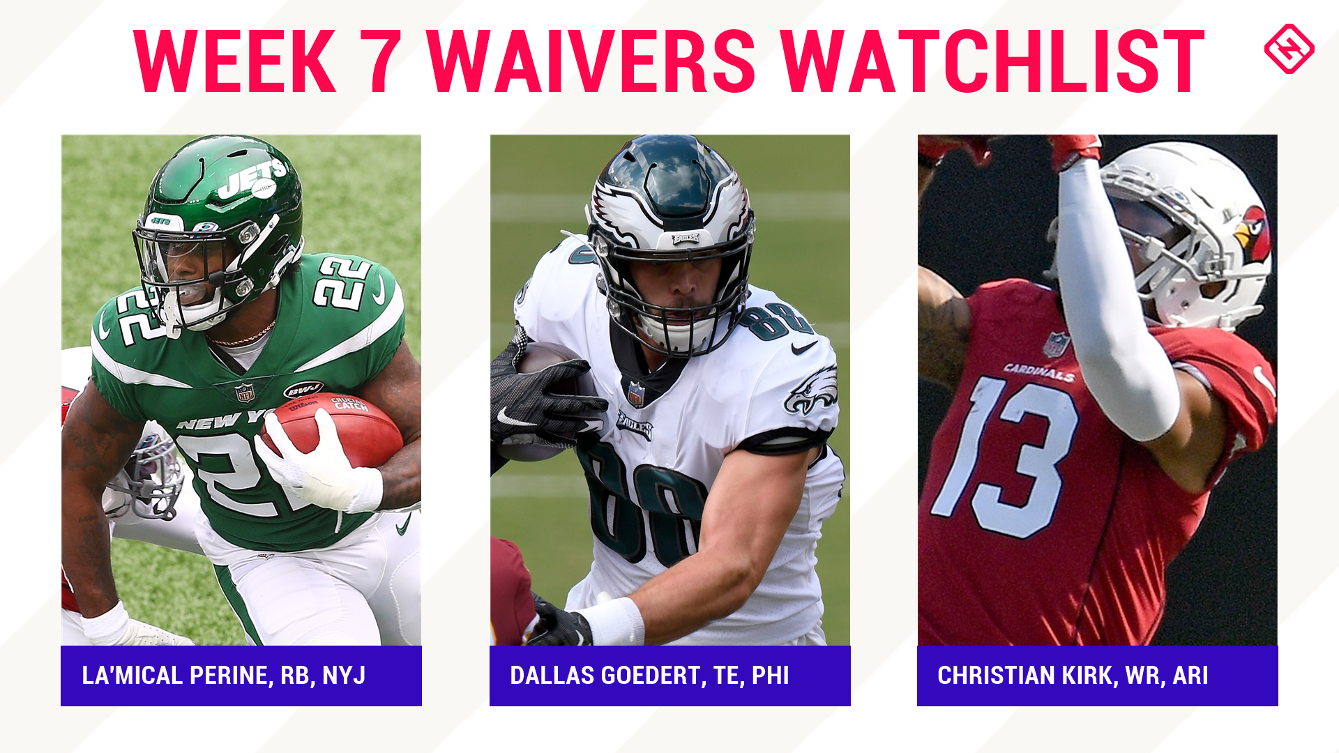 Fantasy Football Waiver Wire Watchlist for Week 7: Streaming targets, free agent sleepers include La'Mical Perine, Dallas Goedert, Christian Kirk