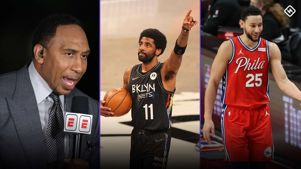 Stephen A. Smith, Kyrie Irving and Ben Simmons