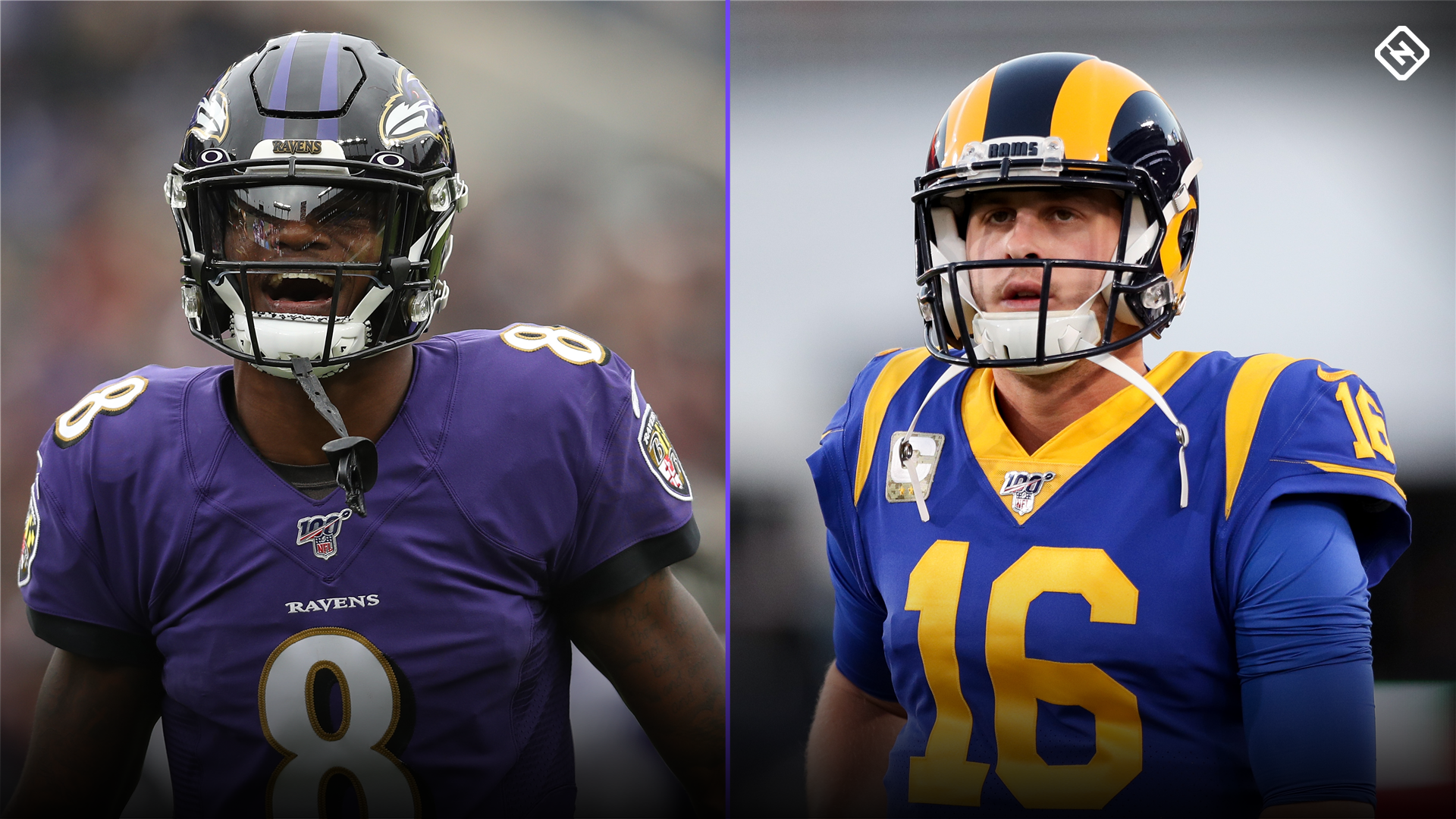 Image result for monday night football rams vs ravens Goff v Jackson