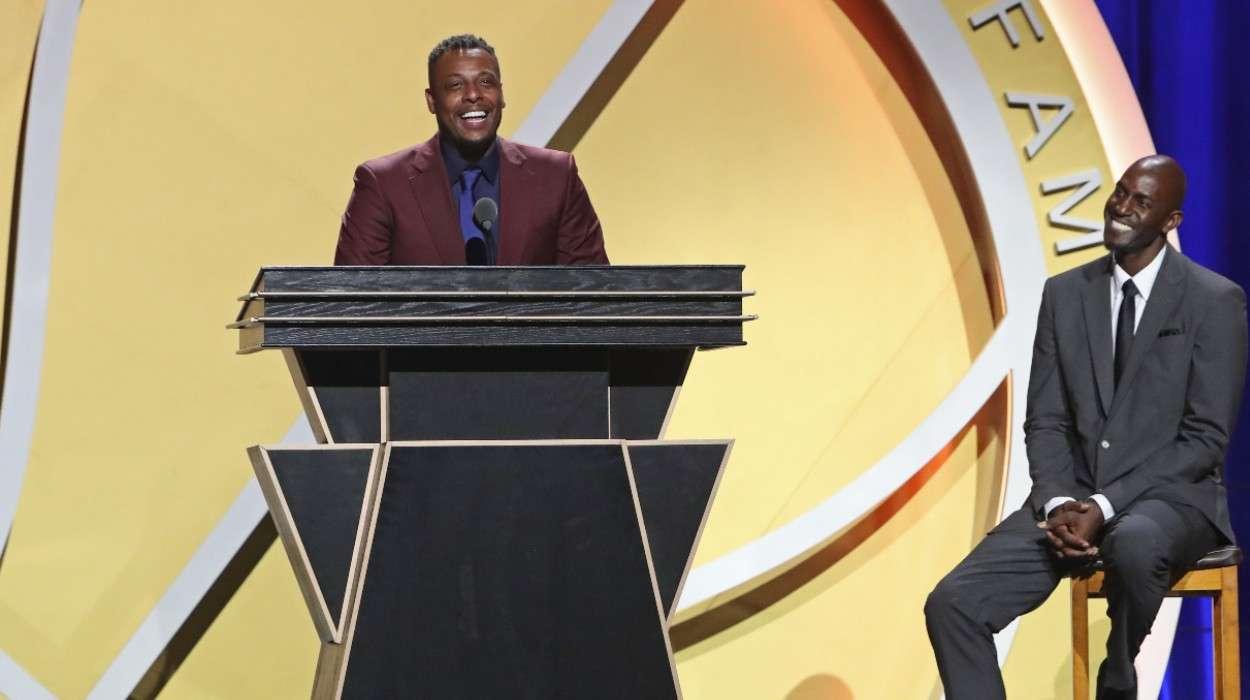 Paul Pierce Kevin Garnett 2021 Basketball Hall of Fame Enshrinement Ceremony