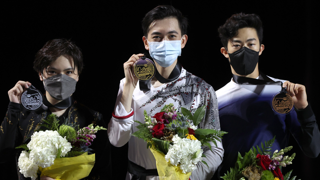 スケートアメリカ表彰台の宇野昌磨、ヴィンセント・ジョウ、ネーサン・チェン
