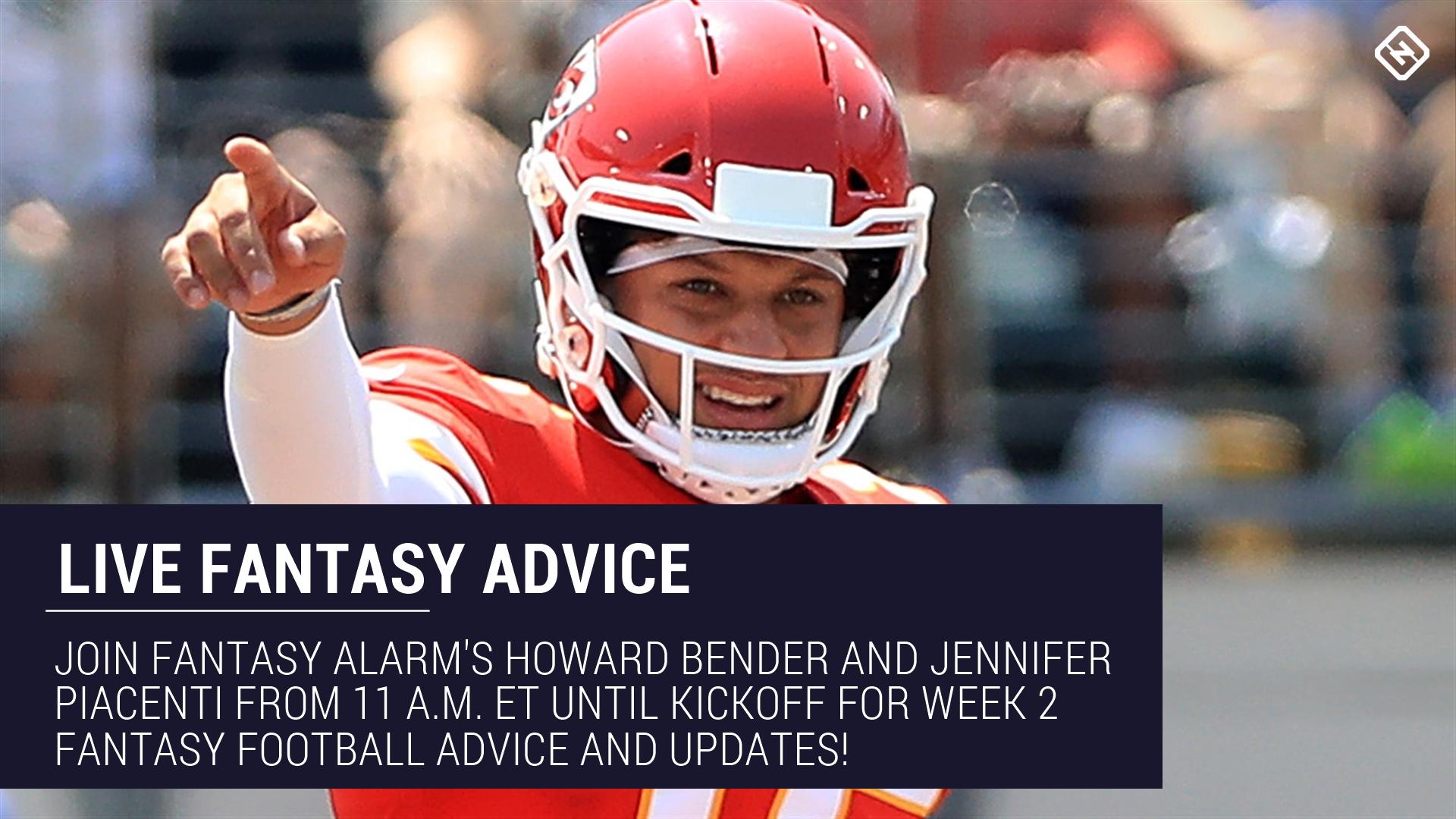 Live Week 2 Fantasy Football Advice: Injury updates, start 'em sit 'em, NFL DFS tips, more