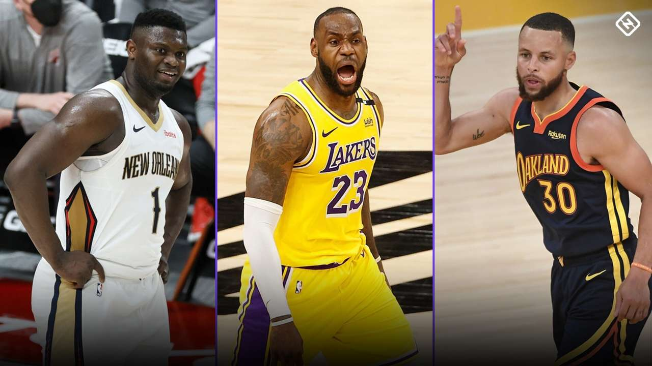 Zion Williamson, LeBron James, and Stephen Curry
