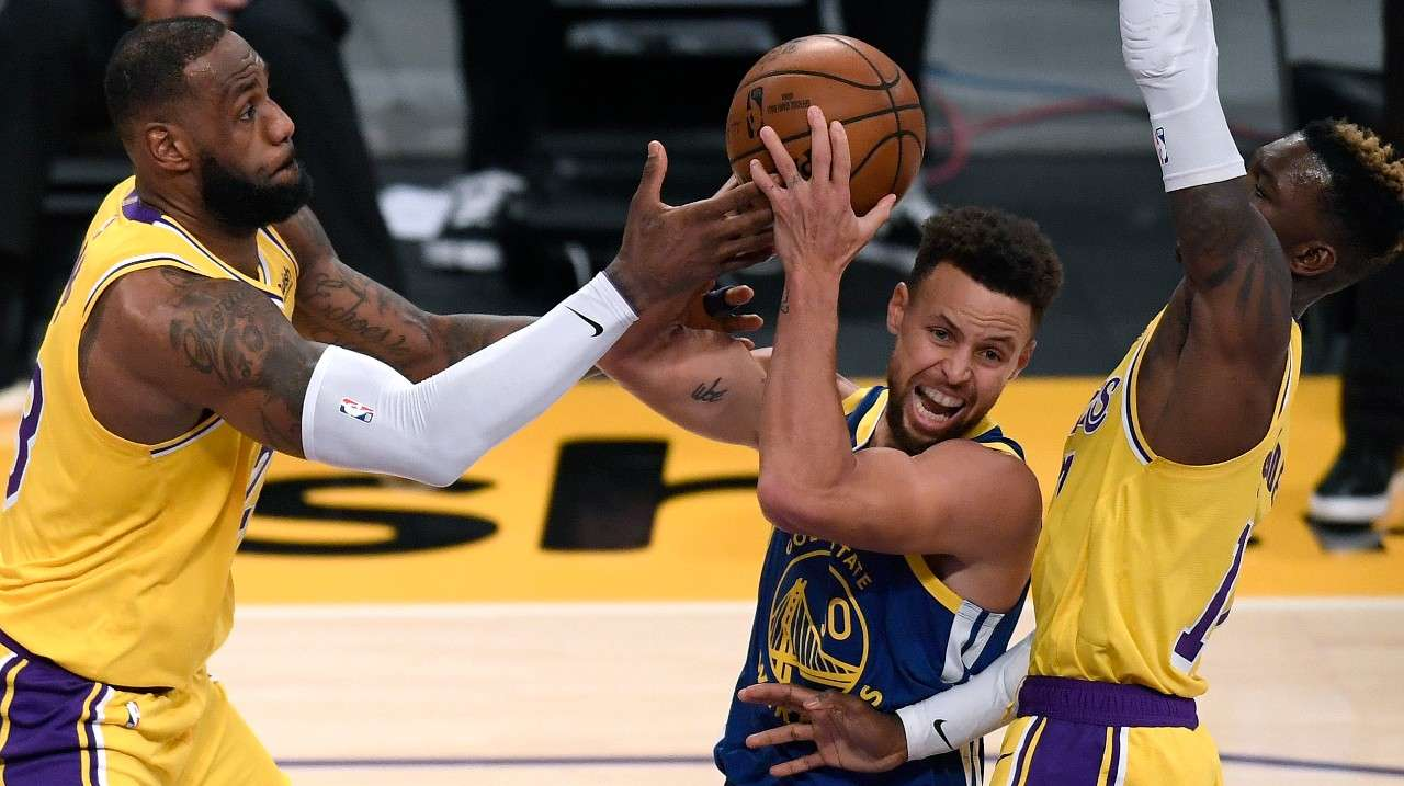 Stephen Curry Golden State Warriors LeBron James Dennis Schroder Los Angeles Lakers