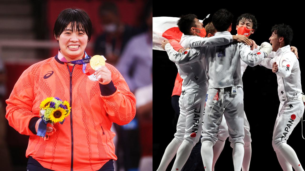 東京五輪7月30日、金メダル獲得の素根輝、フェンシング男子エペ団体日本チーム