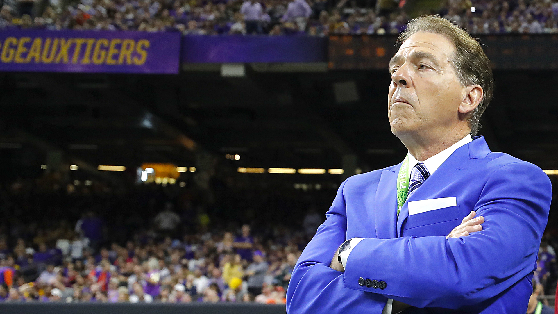 Nick Saban was on the College Football Playoff pregame show, and Twitter had jokes