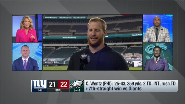 Carson Wentz reacts to Eagles' 'TNF' win