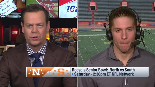 Pro Football Focus' lead draft analyst Mike Renner reviews draft stock during Senior Bowl week