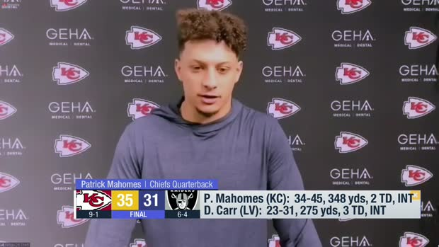 Patrick Mahomes reacts to Chiefs' comeback win vs. Raiders