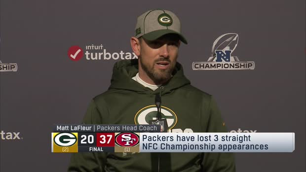 Head coach Matt LaFleur commends Green Bay Packers for continuing to battle in NFC title game loss