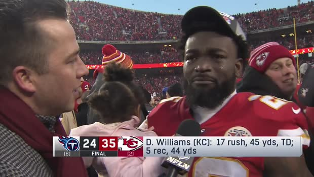 Kansas City Chiefs running back Damien Williams fights back tears after winning AFC title game