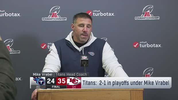 Head coach Mike Vrabel reacts to Tennessee Titans' loss to Kansas City Chiefs in AFC Championship Game