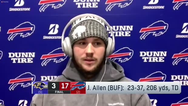 Josh Allen reacts to Bills' win over Ravens in Divisional Round
