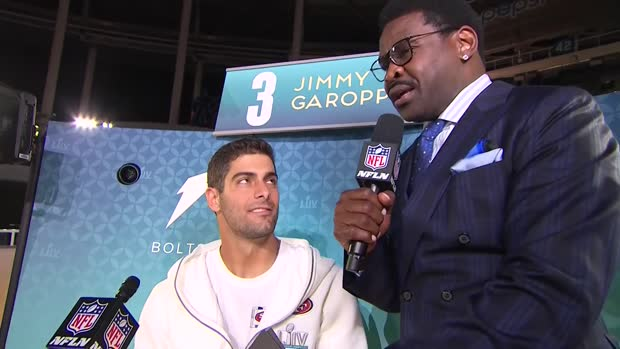 San Francisco 49ers quarterback Jimmy Garoppolo says New England Patriots QB Tom Brady wished him luck ahead of Super Bowl Week