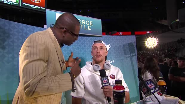 San Francisco 49ers tight end George Kittle interviews Prime at Super Bowl LIV Opening Night