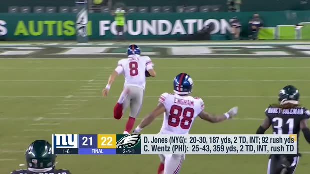 Daniel Jones explains his stumble on 80-yard run