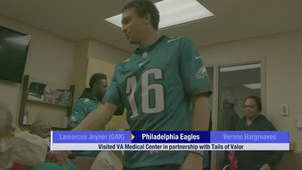 Philadelphia Eagles players visit VA Medical Center to help train service dogs