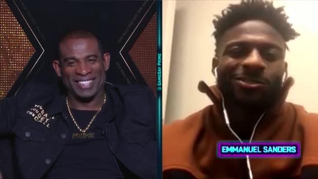 San Francisco 49ers wide receiver Emmanuel Sanders tells Deion Sanders how his TD pass came to be