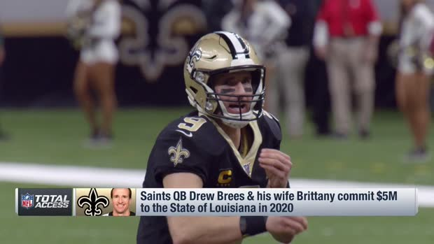 New Orleans Saints quarterback Drew Brees and his wife, Brittany, commit $5 million to relief efforts in Louisiana