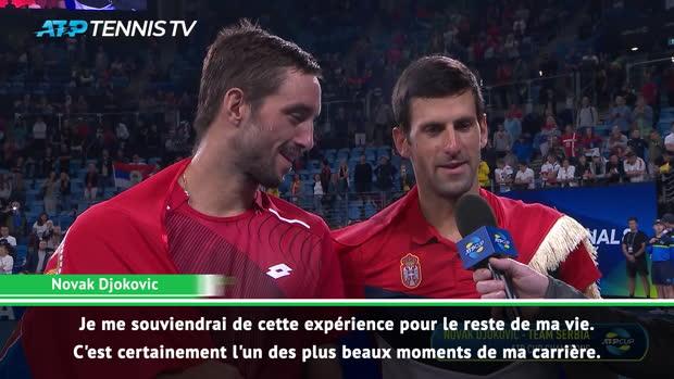 : ATP Cup - Djokovic - 'L'un des plus beaux moments de ma carrière'