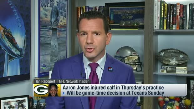 Rapoport: Aaron Jones suffered mild calf strain in practice Thursday