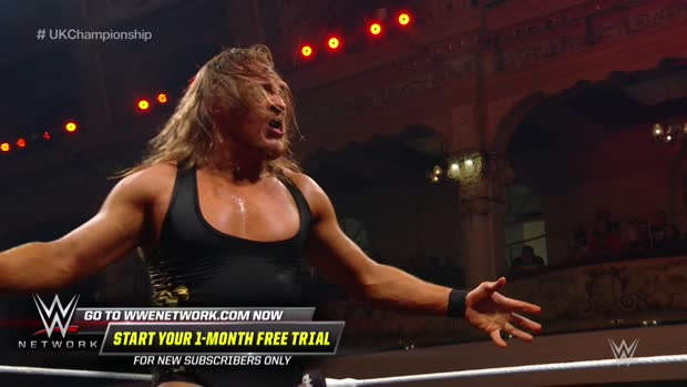 Pete Dunne flips from the top rope to ground Joe Coffey: NXT UK TakeOver: Blackpool (WWE Network Exclusive)